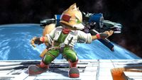 Fox's second idle pose in Super Smash Bros. for Wii U.