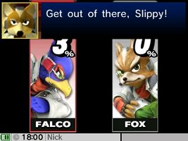 One of Falco's Smash Taunts in Super Smash Bros. for Nintendo 3DS.