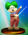 Dr. Wright trophy from Super Smash Bros. Melee.