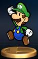 Paper Luigi trophy from Super Smash Bros. Brawl.