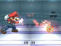 The hitboxes of Mario's Fireball.