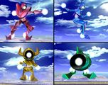 The four members of the Fighting Alloy Team. Composite of images from the Smash Bros. DOJO!!, taken directly from supermariowiki:File:Alloya.jpg.
