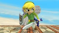 Toon Link's first idle pose in Super Smash Bros. for Wii U.