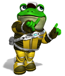 To represent Slippy's appearance in Lylat Cruise/Orbital Gate Assault/Shadow Moses Island Smash Taunts.