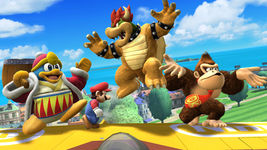 Mario, Bowser, Donkey Kong, and King Dedede on a biplane on Pilotwings in SSB4.