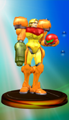 Samus Aran trophy from Super Smash Bros. Melee.