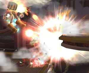 Diddy Kong performing Rocketbarrel Barrage in Super Smash Bros. Brawl. Image is from Nintendo of UK / Super Mario Wiki