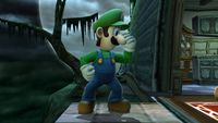 Luigi's second idle pose in Super Smash Bros. for Wii U.