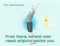 The male Wii Fit Trainer displaying the reaching step of the Sun Salutation yoga exercise.