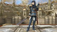 Lucina's second idle pose in Super Smash Bros. for Wii U.