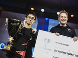 """Matt Deezie in recent years. Presenting the $120,000 Capcom Cup 2015 1st place prize check to Ryota """"Kazunoko"""" Inoue."""