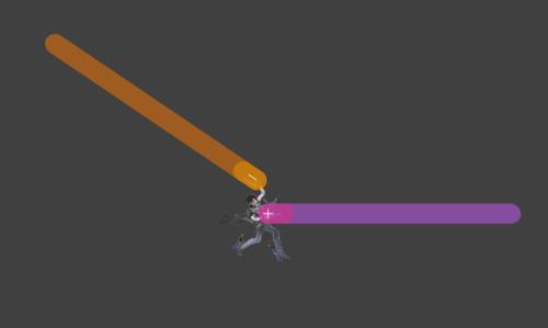 Hitbox visualization for Bayonetta's jab 3 Bullet Arts