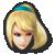 Zero Suit Samus's stock icon in Super Smash Bros. for Wii U.