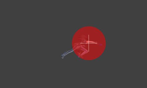 Hitbox visualization for Bayonetta's rapid jab Bullet Arts