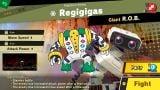 A screenshot of the international version of the Regigigas Spirit battle.