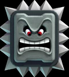 Official artwork of a Thwomp from New Super Mario Bros. U.