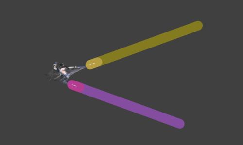 Hitbox visualization for Bayonetta's Afterburner Kick Bullet Arts