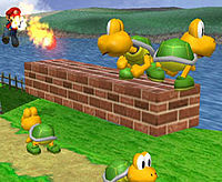 Mario encounters Green Koopa Troopas.