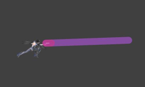 Hitbox visualization for Bayonetta's dash attack Bullet Arts