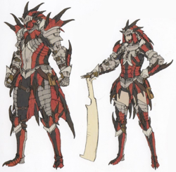 Concept art of Monster Hunters wearing Rathalos Armor