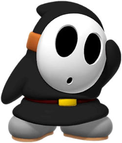 Official artwork of a black Shy Guy from Mario Kart Tour