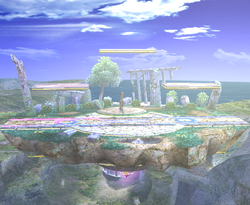 Full view of the Battlefield stage in Super Smash Bros. Brawl.