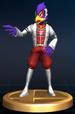 Falco trophy from Super Smash Bros. Brawl.