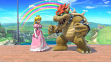 """Bowser and Peach on the Omega form of Rainbow Cruise uploaded with the Switch's Photo Sharing functionality. This image is uploaded to contextualize an observed oddity on the """"No Contest"""" screen, where Bowser appears abnormally small. At the time of this upload, it is unknown if the sizes of other characters have been altered as well."""