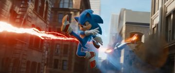 Sonic replicating his Ultimate render pose in the 2020 Sonic the Hedgehog movie.