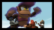 Falco, Diddy Kong and Fox, and false Diddy Kong, in Falco Appears cutscene in The Subspace Emissary of Super Smash Bros. Brawl.